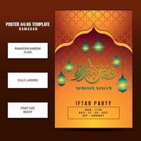 Modern Ramadan Mubarak flyer or brochure template, with red background color vector