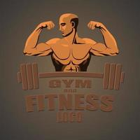 fitness logo man orange gray background vector
