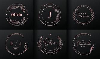 Rose gold natural logo design collection. vector