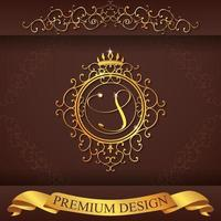 alfabeto heráldico oro premium diseño s vector