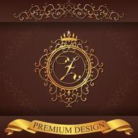 alfabeto heráldico oro premium diseño z vector