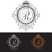 Letter R. Luxury Logo template flourishes calligraphic elegant ornament lines, vector illustration