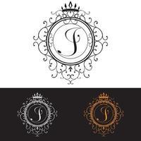 letra j. La plantilla de logotipo de lujo florece con elegantes líneas de adornos caligráficos, ilustración vectorial vector