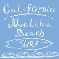 California surf malibu on blue vector