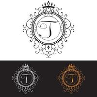 Letter T. Luxury Logo template flourishes calligraphic elegant ornament lines, vector illustration