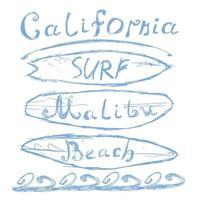 California surf boards malibu isolated vector