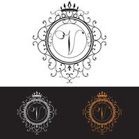 Letter V. Luxury Logo template flourishes calligraphic elegant ornament lines, vector illustration