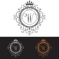 letra W. La plantilla de logotipo de lujo florece con elegantes líneas de adornos caligráficos, ilustración vectorial vector
