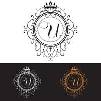 Letter U. Luxury Logo template flourishes calligraphic elegant ornament lines, vector illustration