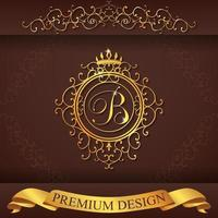 alfabeto heráldico oro premium diseño b vector
