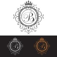 Letter B. Luxury Logo template flourishes calligraphic elegant ornament lines, vector illustration