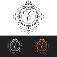 Letter E. Luxury Logo template flourishes calligraphic elegant ornament lines, vector illustration
