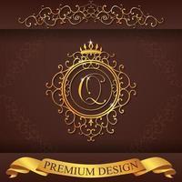 alfabeto heráldico oro premium diseño q vector