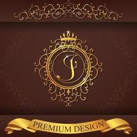 alfabeto heráldico oro premium diseño j vector