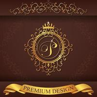 alfabeto heráldico oro premium diseño p vector