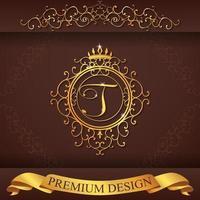 alfabeto heráldico oro premium diseño t vector