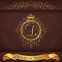alfabeto heráldico oro premium diseño l vector