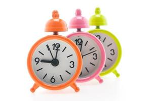 Classic Alarm clocks on white background photo