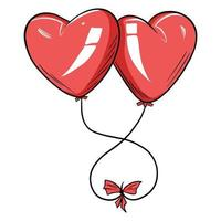 Red balloons in the form of a heart. vector