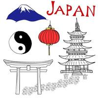 Japan doodles elements. Hand drawn set with Fujiyama mountain, Shinto gate, Japanese lantern and pagoda, Yin and yang symbol. Drawing doodle collection, isolated on white. vector