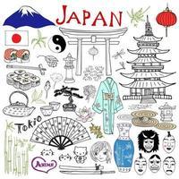 Japan doodles elements. Hand drawn set with Fujiyama mountain, Shinto gate, Japanese food sushi and tea set, fan, theater masks, katana, pagoda, kimono. Drawing doodle collection, isolated on white. vector