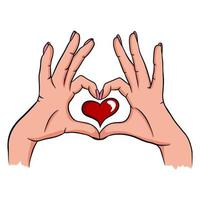 Two hands making a heart sign. Love, romantic relationship concept. Isolated vector. vector