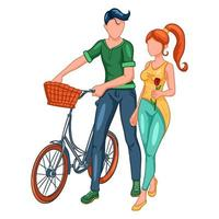 A loving couple on a walk with a bike. vector
