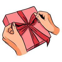 regalo en mano. un regalo en un paquete festivo. estilo de dibujos animados. vector