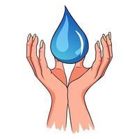 gota en la mano. protejamos el agua limpia. agua potable. estilo de dibujos animados. vector