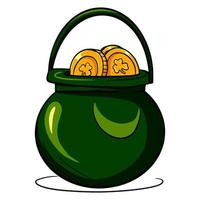 Pot of gold. A pot filled with gold coins. St.Patrick 's Day. Cartoon style. vector