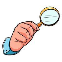 mano masculina con una lupa. lupa. detective. estilo de dibujos animados. vector