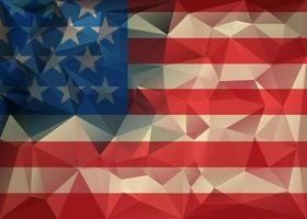 Abstract polygonal triangle USA flag background, Geometric low poly illustration. Polygonal poster vector