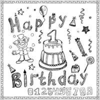 birthday sketch colored vector