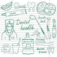 Conjunto de iconos de garabatos de salud dental. boceto dibujado a mano con dientes, pasta de dientes, cepillo de dientes, dentista, enjuague bucal y hilo dental. ilustración vectorial aislado