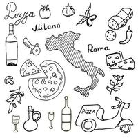 doodles Italy cruise paper vector