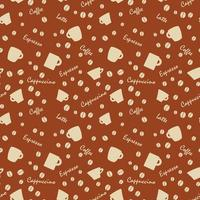 coffe pattern with beens white on brown vector