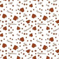 coffe pattern with beens white background vector