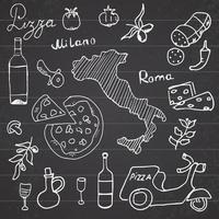 doodles Italy food chalkboard vector