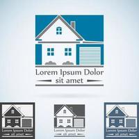 house with garage logo vector