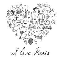 paris love heart vector