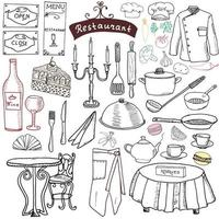 Restaurant sketch doodles set. Hand drawn elements food and drink, knife, fork, menu, chef uniform, wine bottle, waiter apron Drawing doodle collection, isolated on white vector