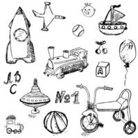 sketch baby toys isolated vector