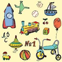 sketch baby toys color vector