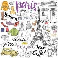 Paris doodles elements. Hand drawn set with eiffel tower bred cafe, taxi triumf arch, fashion elements, cat and french bulldog. Drawing doodle collection and lettering, isolated on white vector