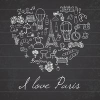 paris love heart chalkboard vector
