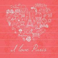 paris love heart red vector