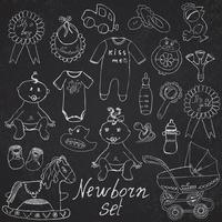 sketch newborn toys on chalkboard vector