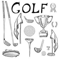 Golf Sport Hand drawn sketch set vector illustration with golf clubs, ball, tee, hole with flag, and prize cup, Drawing doodles elements collection, isolated on white background