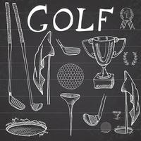 Golf Sport Hand drawn sketch set vector illustration with golf clubs, ball, tee, hole with flag, and prize cup, Drawing doodles elements collection, on chalkboard background