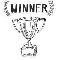 trofeo de deporte bosquejo doodle. Premio de ganadores dibujados a mano sobre fondo de pizarra vector